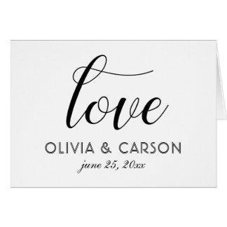 Cartão Obrigado dobrado do casamento você | preto e