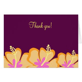 Cartão Obrigado dobrado do hibiscus flor roxa você notas