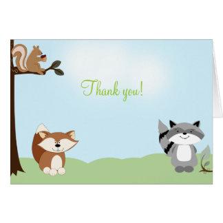 Cartão Obrigado dobrado FLORESTA ENCHANTED você notas