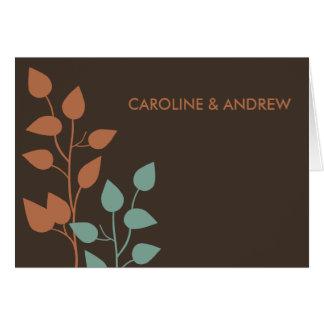 Cartão Obrigado dobro dos ramo das folhas da queda você