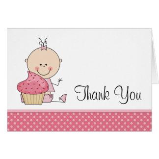 Cartão Obrigado doce do bebé das bolinhas do rosa do