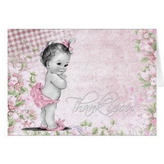 Cartão Obrigado doce do chá de fraldas do rosa do vintage