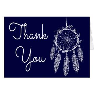 Cartão Obrigado dos azuis marinhos de Boho você sonha o