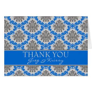 Cartão Obrigado dos azuis marinhos do damasco você