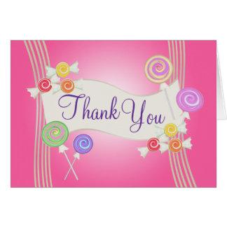 Cartão Obrigado dos doces você rosa escuro