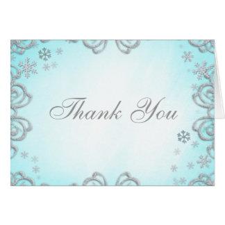 Cartão Obrigado dos flocos de neve do redemoinho do país