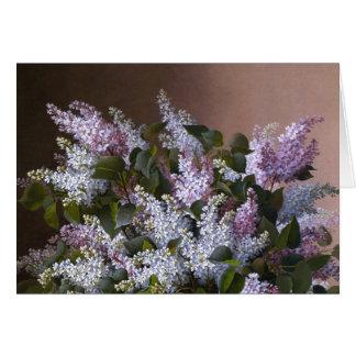 Cartão Obrigado dos Lilacs do vintage você