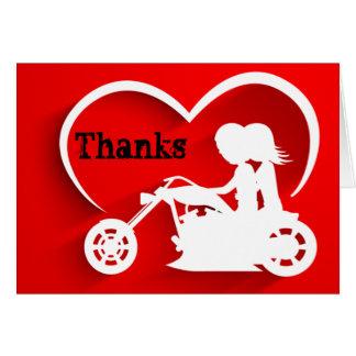 Cartão Obrigado dos obrigados da motocicleta da equitação