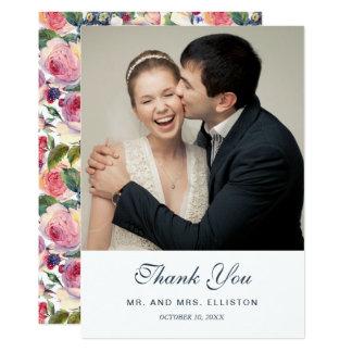 Cartão Obrigado dos rosas | do inglês da aguarela | você