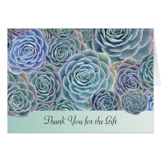 Cartão Obrigado dos Succulents do verde azul você