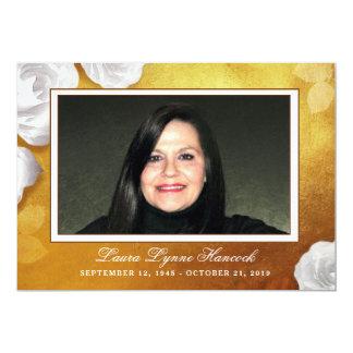Cartão Obrigado dourado da foto do rosa branco você