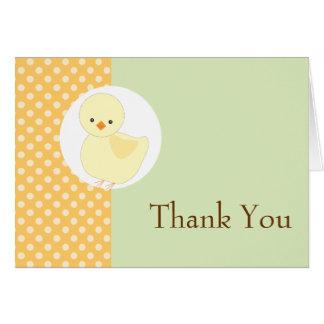 Cartão Obrigado Ducky amarelo bonito de Polkadot você