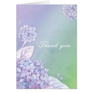 Cartão Obrigado elegante bonito do casamento do Hydrangea
