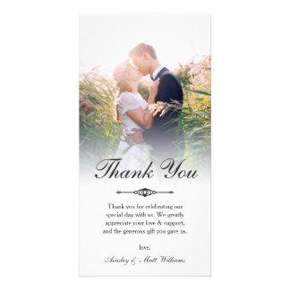 Cartão Obrigado elegante da foto do casamento da folha de