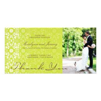 Cartão Obrigado elegante da foto do verde limão do laço