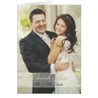 Cartão Obrigado elegante do casamento da foto do marfim