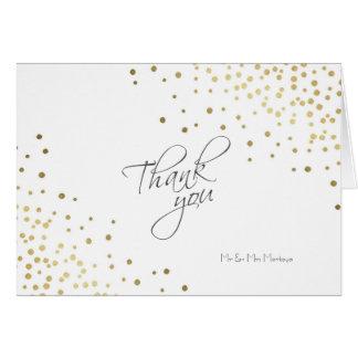 Cartão Obrigado elegante do casamento dos confetes do