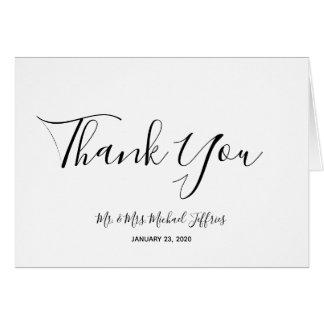 Cartão Obrigado elegante do casamento você