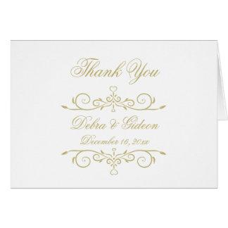 Cartão Obrigado elegante do monograma do branco e do ouro