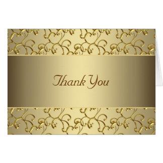 Cartão Obrigado elegante do ouro do redemoinho você