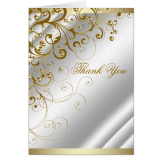Cartão Obrigado elegante do redemoinho do ouro do marfim