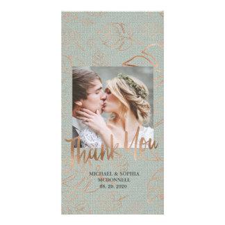 Cartão Obrigado em folha de palmeira da foto do casamento