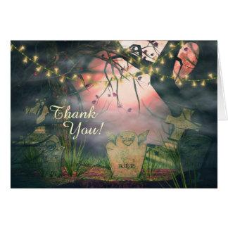 Cartão Obrigado encantador das luzes do cemitério e da