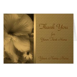 Cartão Obrigado envelhecido da natureza da flor do