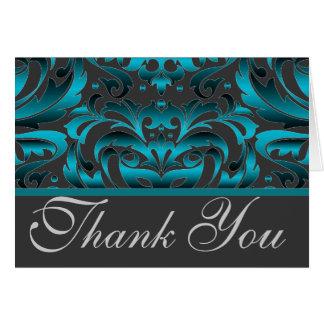 Cartão Obrigado escuro elegante do damasco da cerceta