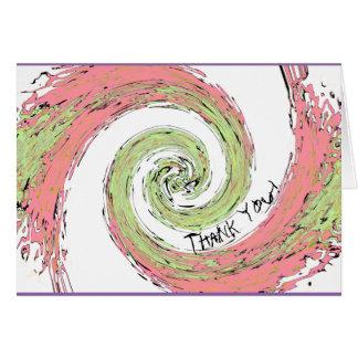 Cartão Obrigado espiral abstrato do rosa e do verde você