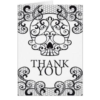 Cartão Obrigado extravagante de Calavera do crânio do