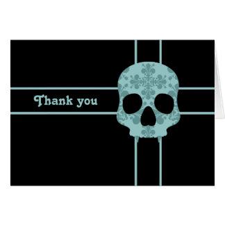 Cartão Obrigado fanged damasco do crânio do gótico do