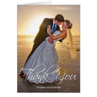 Cartão Obrigado feito sob encomenda da foto do casamento