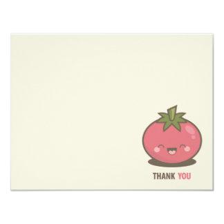 Cartão Obrigado feliz bonito do tomate de Kawaii você