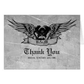 Cartão Obrigado flamejante do motociclista você