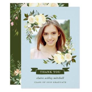 Cartão Obrigado floral azul da graduação da foto do