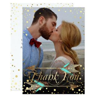 Cartão Obrigado floral boémio da seta da faísca do ouro
