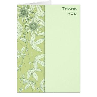 Cartão Obrigado floral botânico verde do Celadon você
