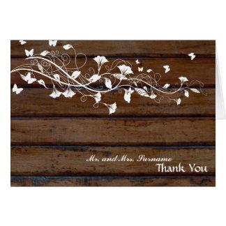 Cartão Obrigado floral branco de madeira escuro você