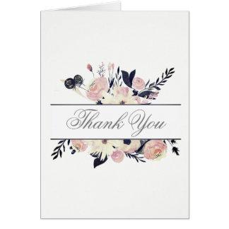 Cartão Obrigado floral cor-de-rosa coral azul do