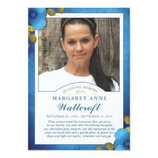 Cartão Obrigado floral da beira azul você foto do costume