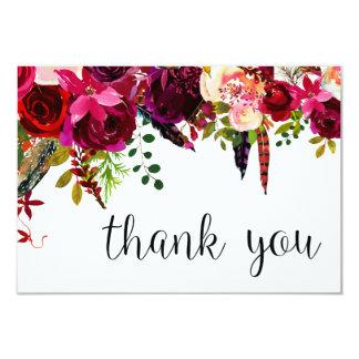 Cartão Obrigado floral da cor de água você