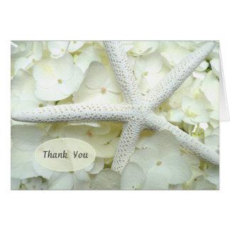 Cartão Obrigado floral da estrela do mar do branco de