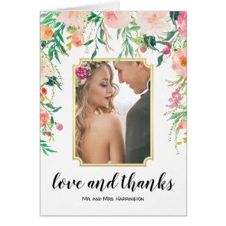 Cartão Obrigado floral da foto do casamento da aguarela