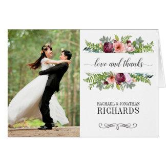 Cartão Obrigado floral da foto do casamento da fantasia
