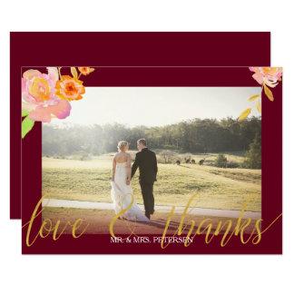 Cartão Obrigado floral da foto do casamento outono de