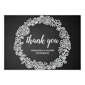 Cartão Obrigado floral da grinalda | do quadro rústico