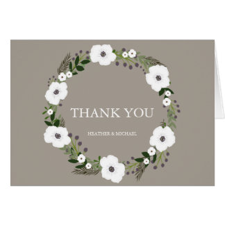 Cartão Obrigado floral da grinalda você notas - taupe