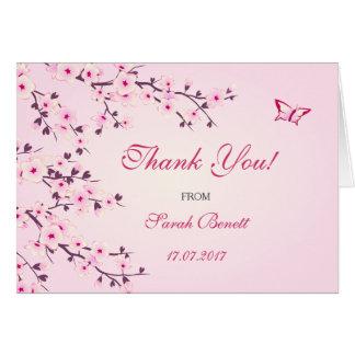 Cartão Obrigado floral das flores de cerejeira você chá