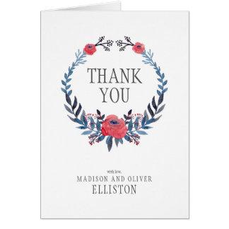 Cartão Obrigado floral das rosas vermelhas | da aguarela